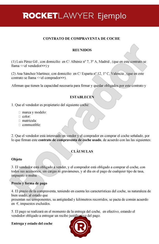 77ae8eb6247f Contrato de compraventa de coche / automóvil