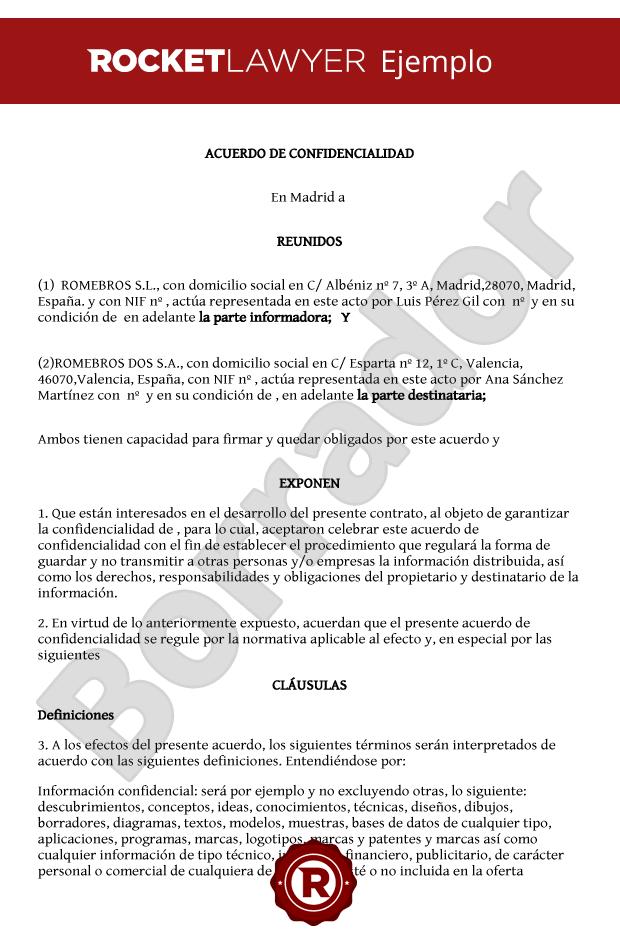 Acuerdo de confidencialidad crea un contrato de for Clausula suelo firma acuerdo privado