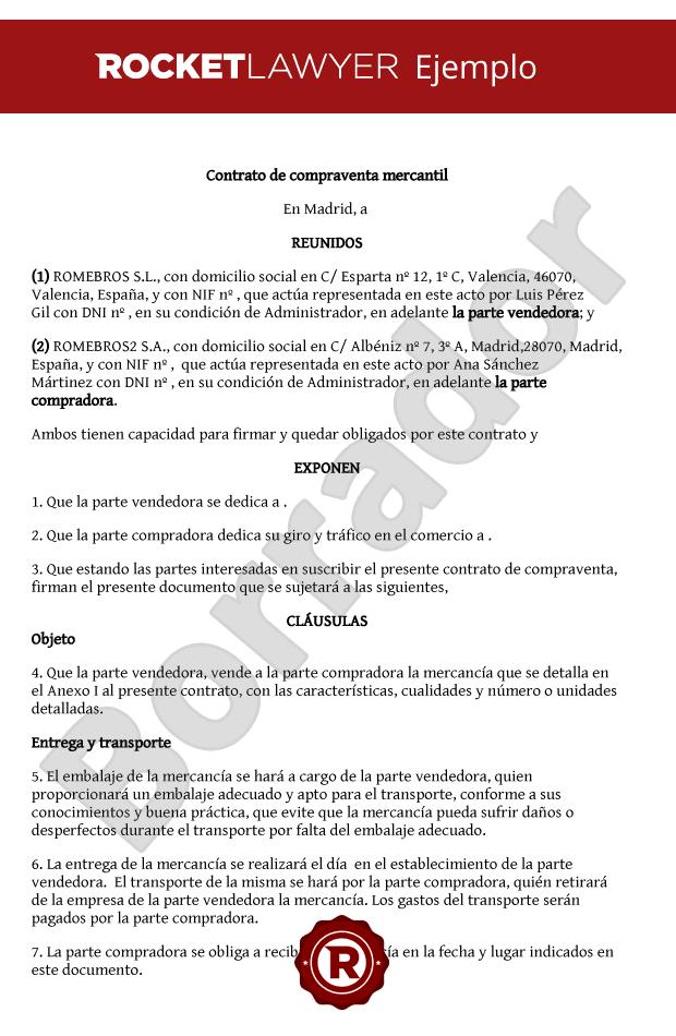 Modelo de contrato de compraventa mercantil for Contrato documento