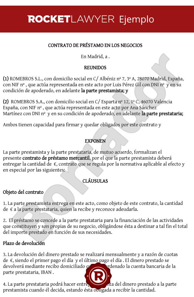 Formato De Contrato De Prestamo Mercantil Creditourav