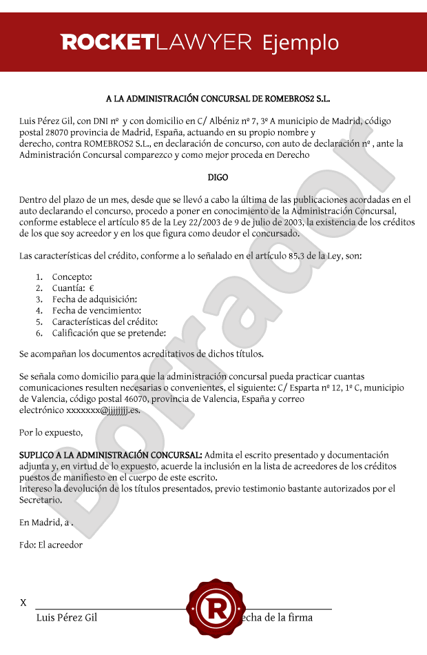 Modelo de Escrito comunicando crédito a un concurso