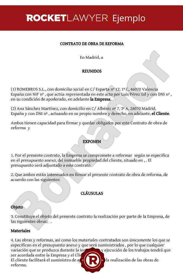 Modelo De Contrato De Obras De Reforma