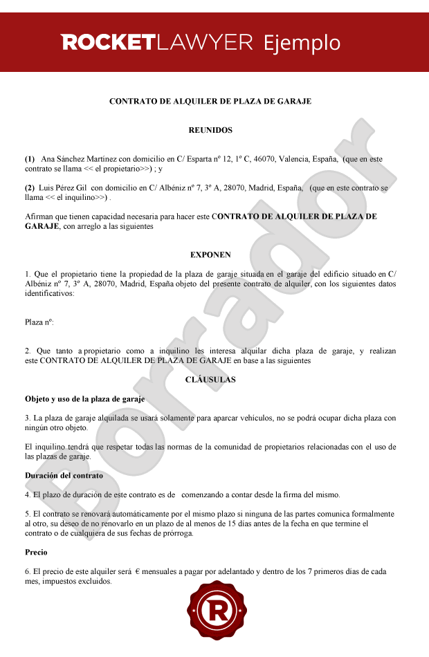 Contrato de alquiler de plaza de garaje - Contrato de alquiler de garaje ...