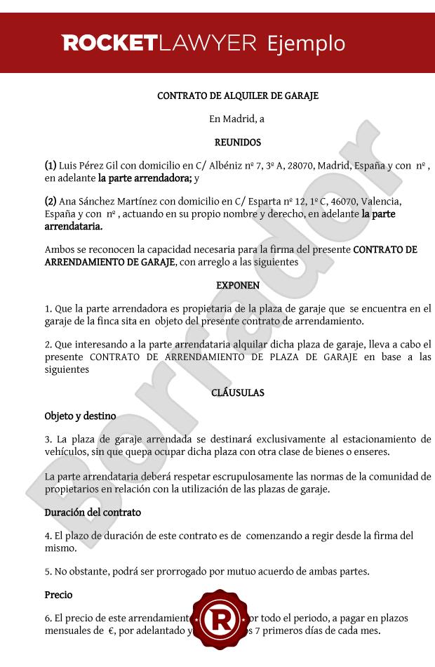 Contrato de alquiler de plaza de garaje - Simulador gastos compra plaza garaje ...