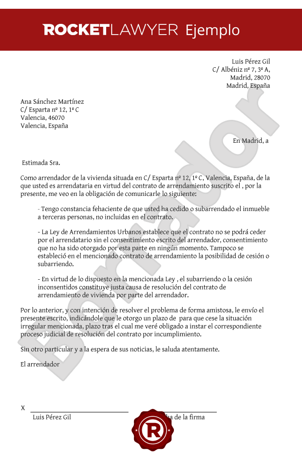 Carta De Rescisión Del Contrato De Alquiler Por Parte Del Arrendador