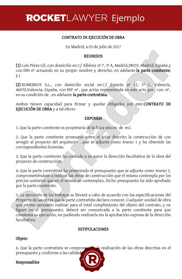 Contrato de ejecuci n obra crea tu contrato de obra de - Ejemplo presupuesto reforma vivienda ...