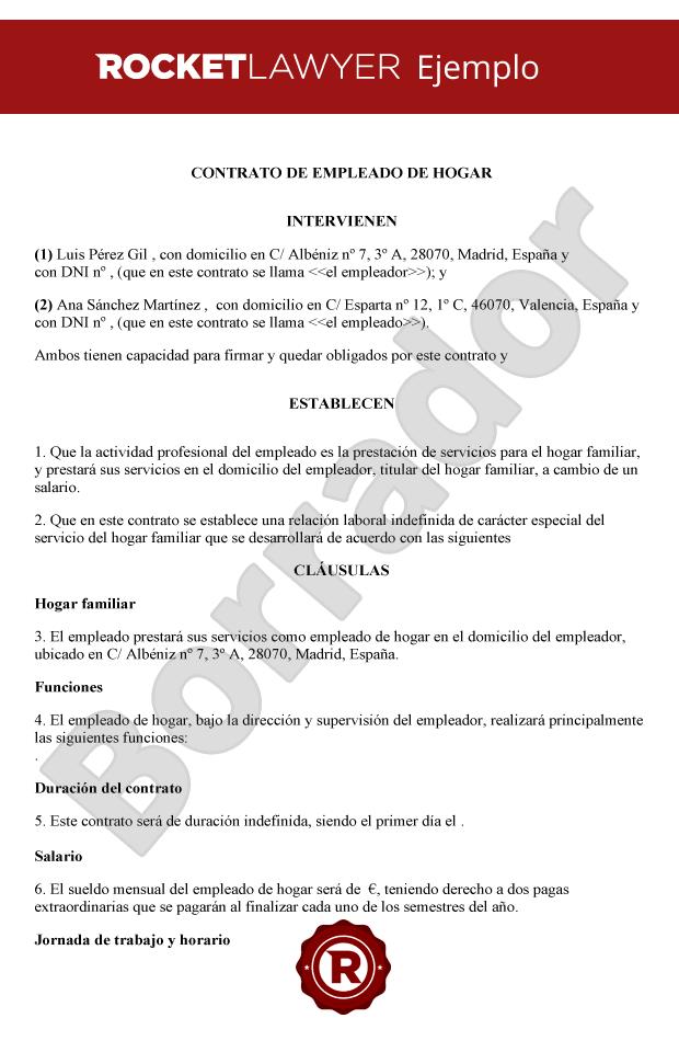 Contrato de empleado de hogar crea un contrato para for Modelo contrato empleada de hogar 2016