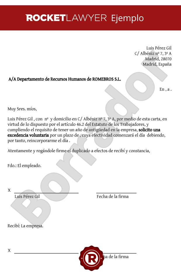 Modelo de excedencia voluntaria - Crea tu carta de solicitud de ...