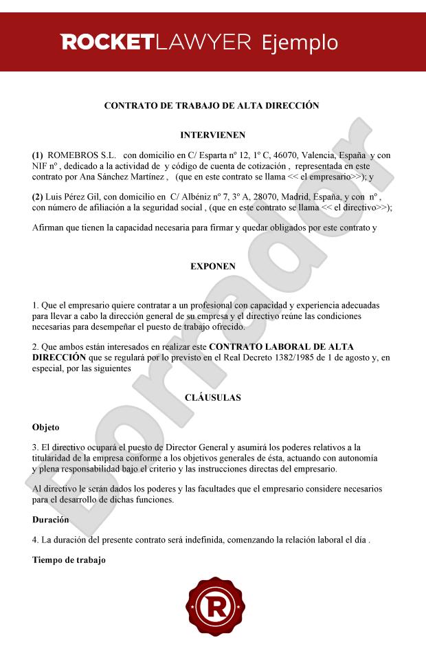 Modelo De Contrato De Trabajo De Alta Direccion
