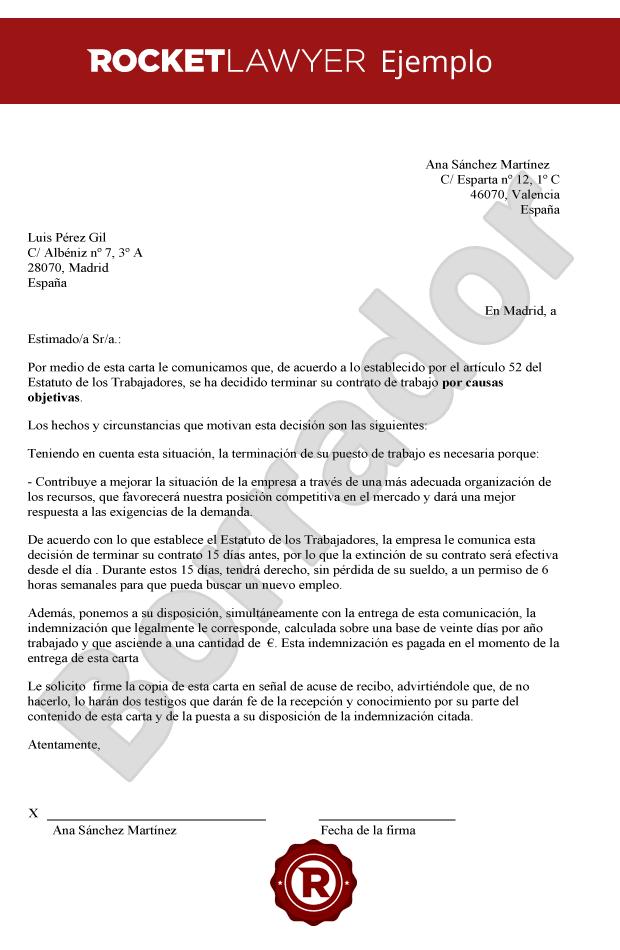 Carta De Despido Objetivo Crea Una Carta De Extincion De Contrato