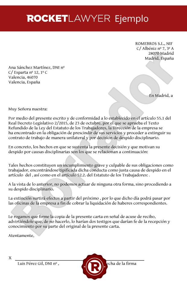 Modelo De Carta De Despido Disciplinario