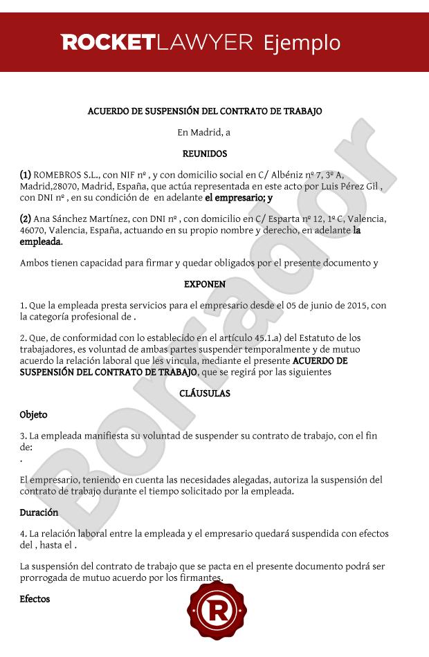 Suspensi n del contrato de trabajo por mutuo acuerdo for Contrato documento