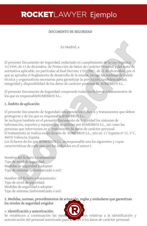 Modelo de documento de seguridad