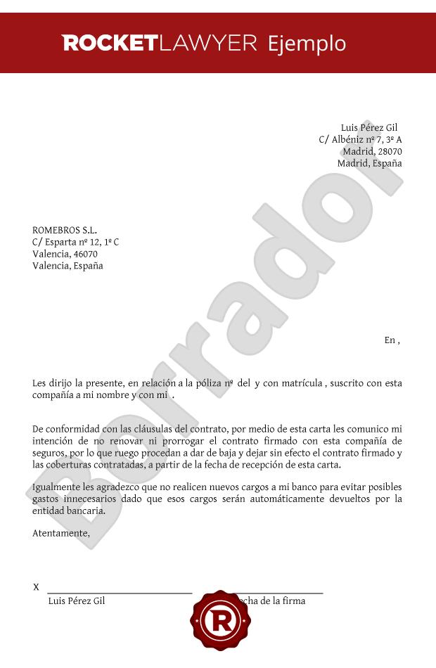 Carta para no renovar un seguro solicitud de no for Renovar demanda de empleo con certificado digital