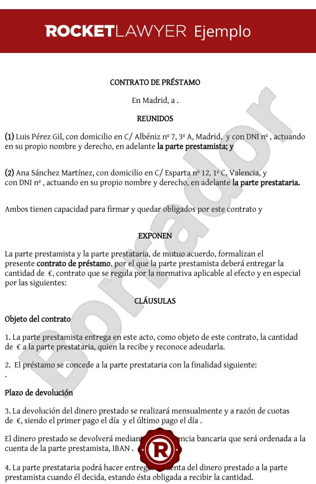 modelo de contrato de prestamo de dinero en paraguay