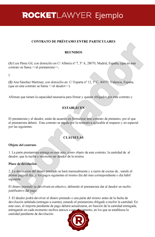 Contrato de pr stamo entre particulares modelo de contrato de pr stamo entre particulares - Cambio de pisos entre particulares ...