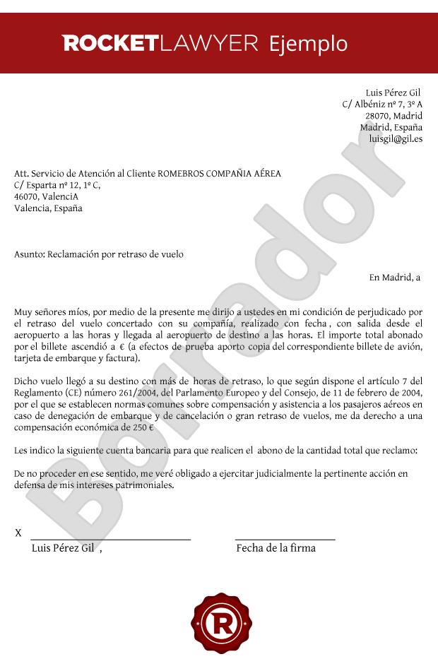 Modelo de Carta de Reclamación por retraso de un vuelo