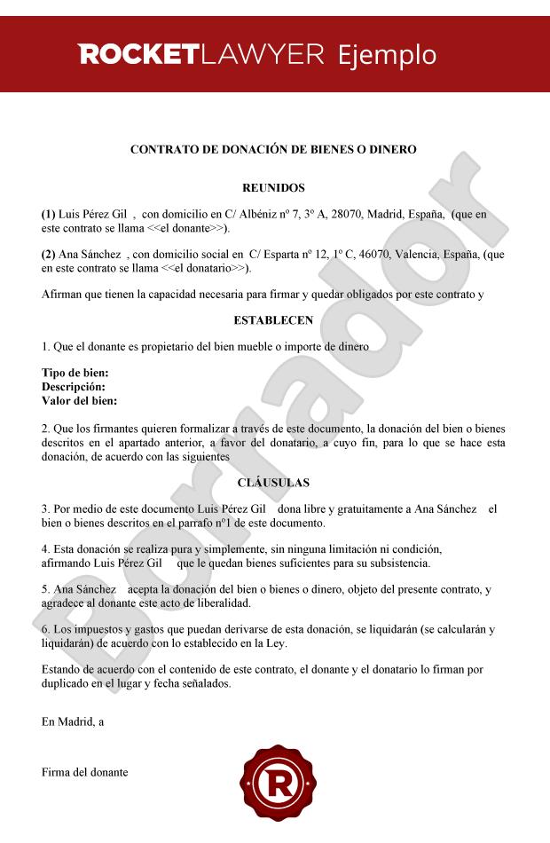 Modelo de contrato de donaci n de bienes o dinero for Clausula suelo firma acuerdo privado
