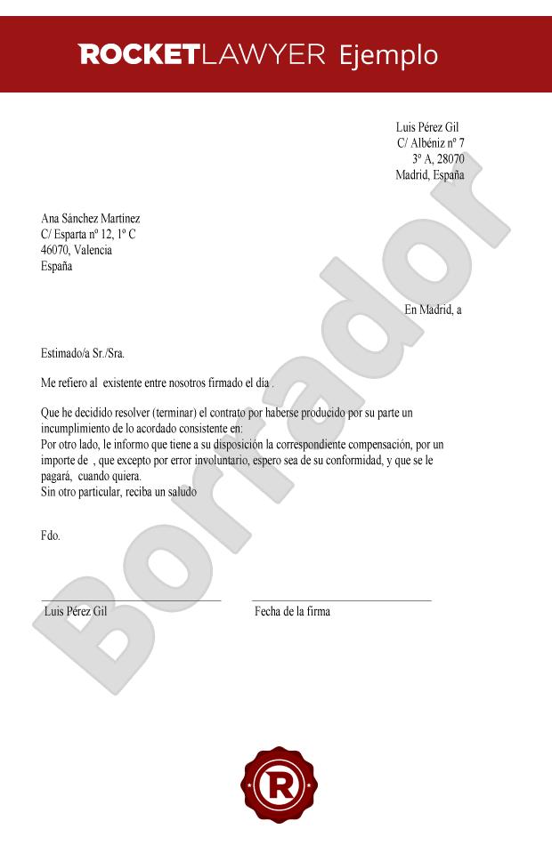 Carta Para Resolver El Contrato Crea Una Carta De