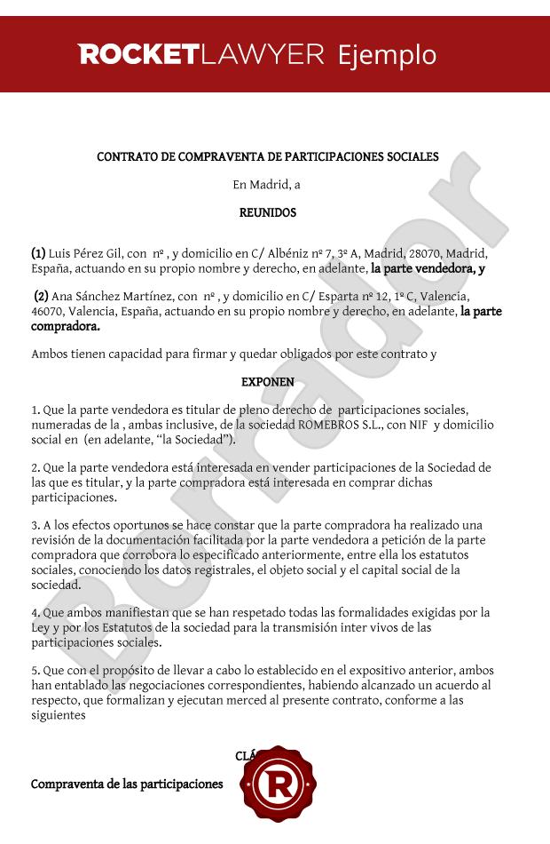 Modelo de contrato de compraventa de participaciones sociales for Contrato documento