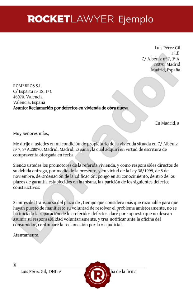 Modelo de reclamaci n por defectos en vivienda de obra nueva Modelo contrato empleada de hogar interna