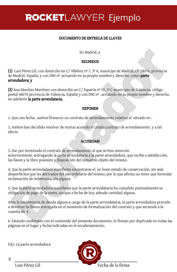 Modelo de documento entrega de llaves for Oficina de empleo por codigo postal