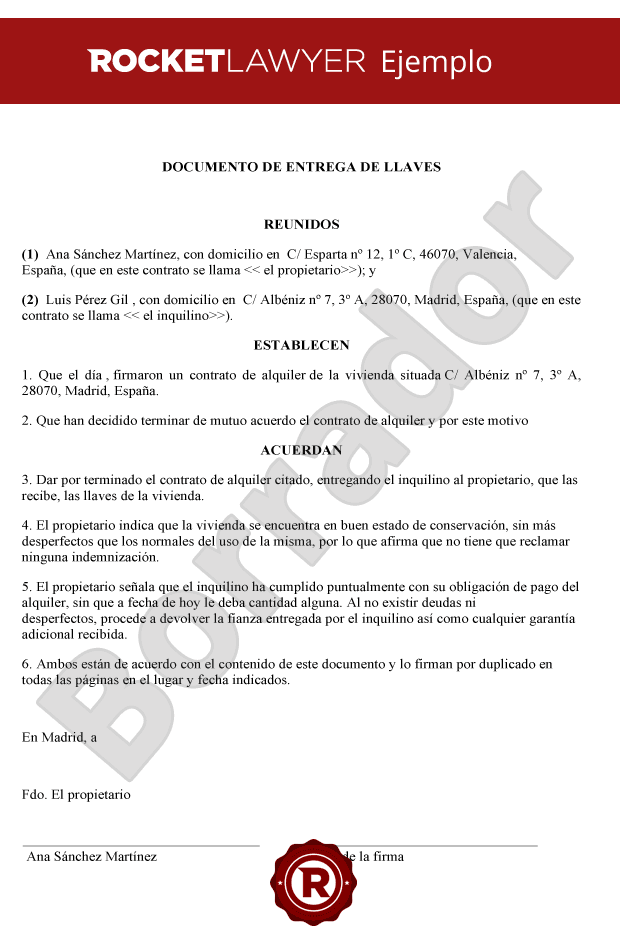 Documento entrega de llaves