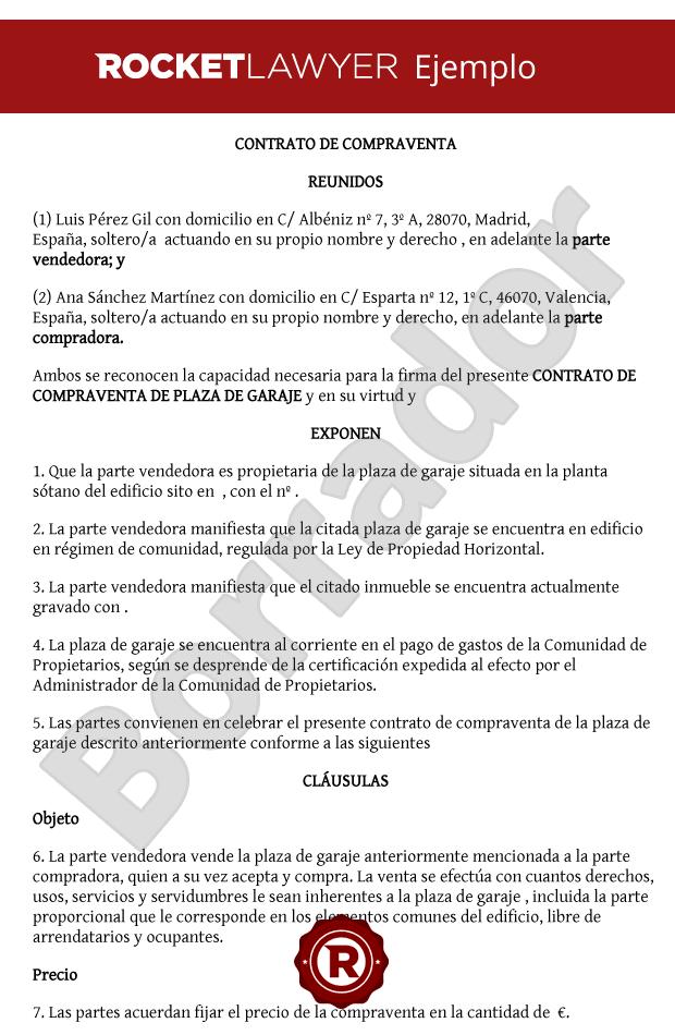 Contrato de compraventa de garaje - Contrato de alquiler de garaje ...