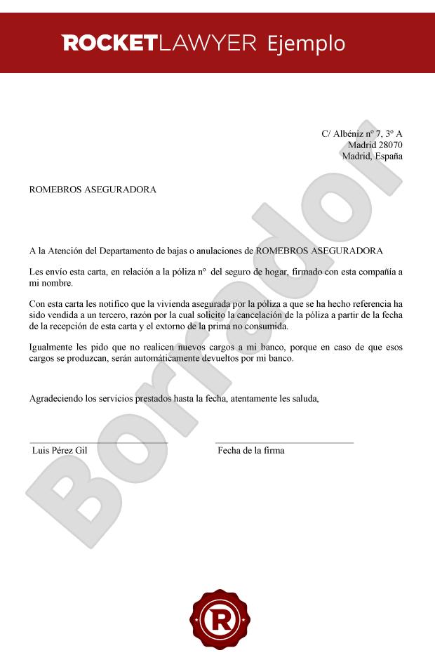 Carta Para Cancelar El Seguro De Hogar