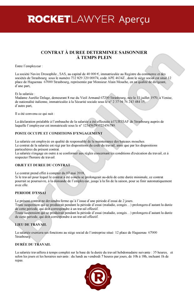 Cdd Saisonnier Modele De Contrat 100 Gratuit