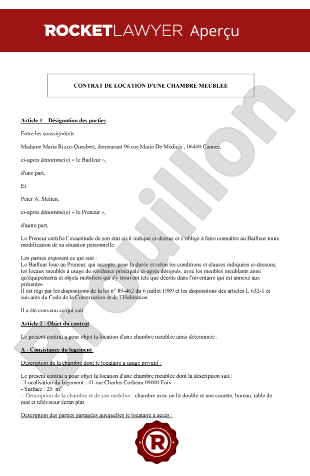 Contrat De Location Chambre Meublee Bail De Location