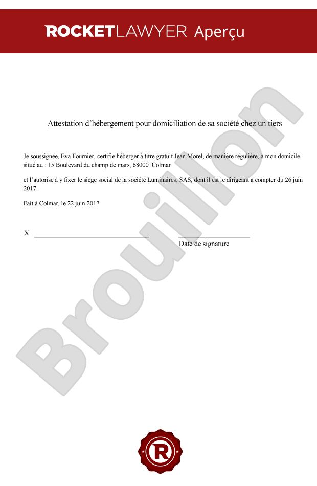 modele de lettre de domiciliation gratuit Attestation d'hébergement pour domicilier son entreprise modele de lettre de domiciliation gratuit