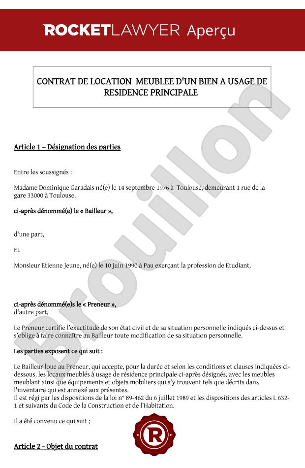 Contrat De Location Du0027un Bien Meublé
