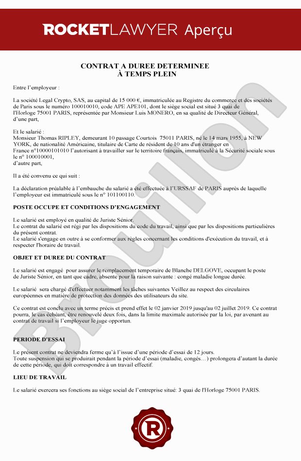 Contrat A Duree Determinee Redigez Un Contrat Cdd