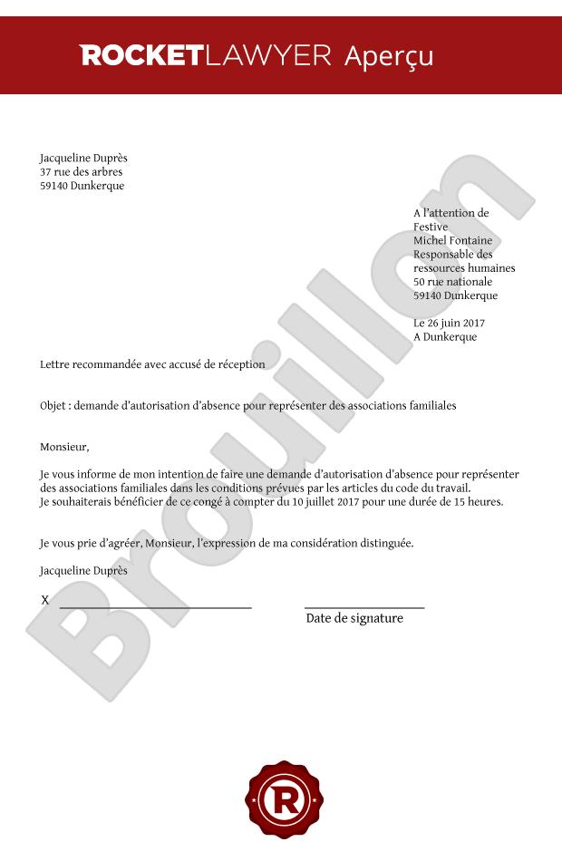 modele lettre demande d absence au travail Modèle de demande d'absence pour représenter une association familiale modele lettre demande d absence au travail