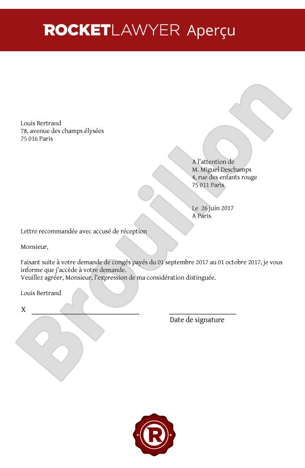 modele de lettre pour demande de congé payé Congés payés : modèle de réponse de l'employeur modele de lettre pour demande de congé payé