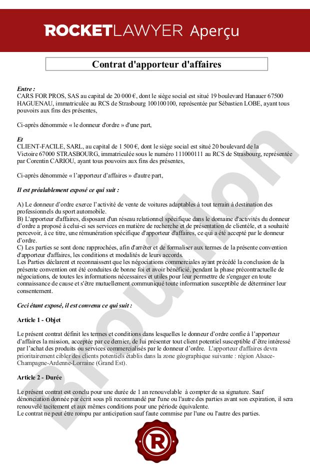Contrat D Apporteur D Affaires Modele Exemple Gratuit