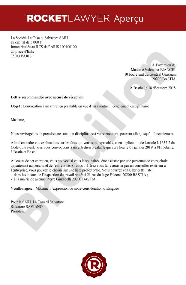69a4e71be7a Convocation à l entretien préalable pour un licenciement disciplinaire