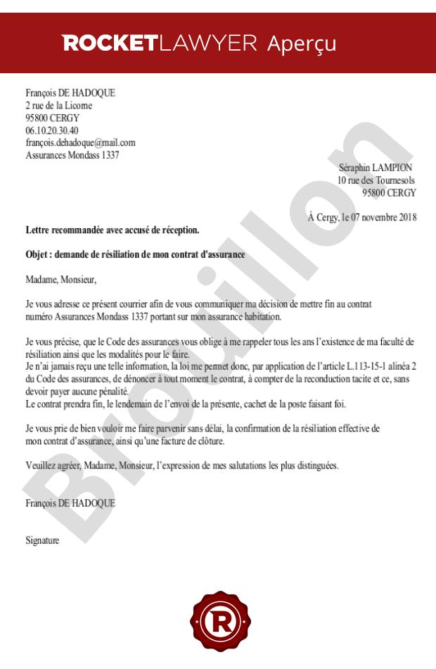 Denonciation De Reconduction Tacite De Votre Contrat D Assurance