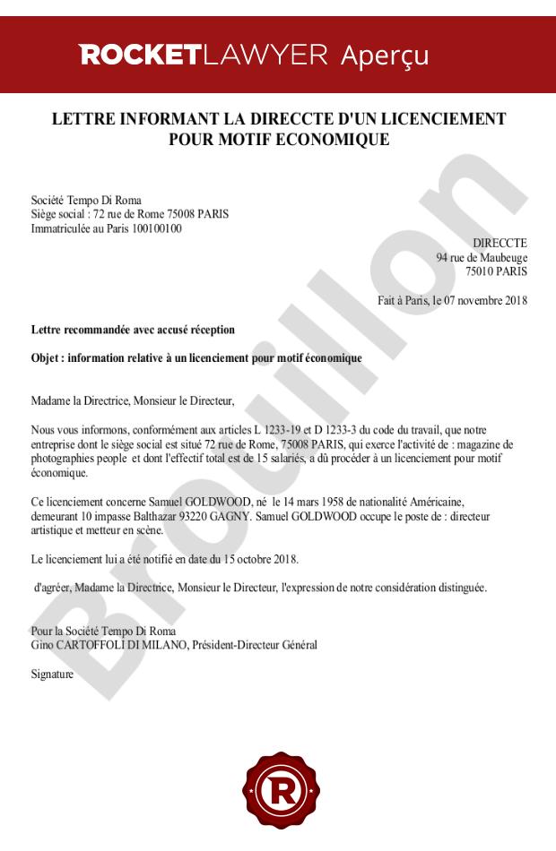 Lettre Informant La Direccte D Un Licenciement Pour Motif Economique