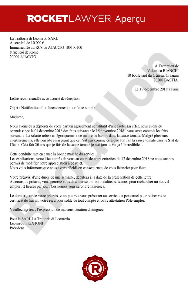 Lettre De Licenciement Pour Faute Simple