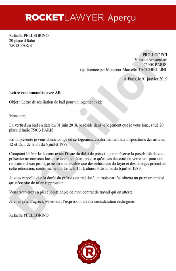 Bail Pour Logement Vide Modele De Lettre Resiliation