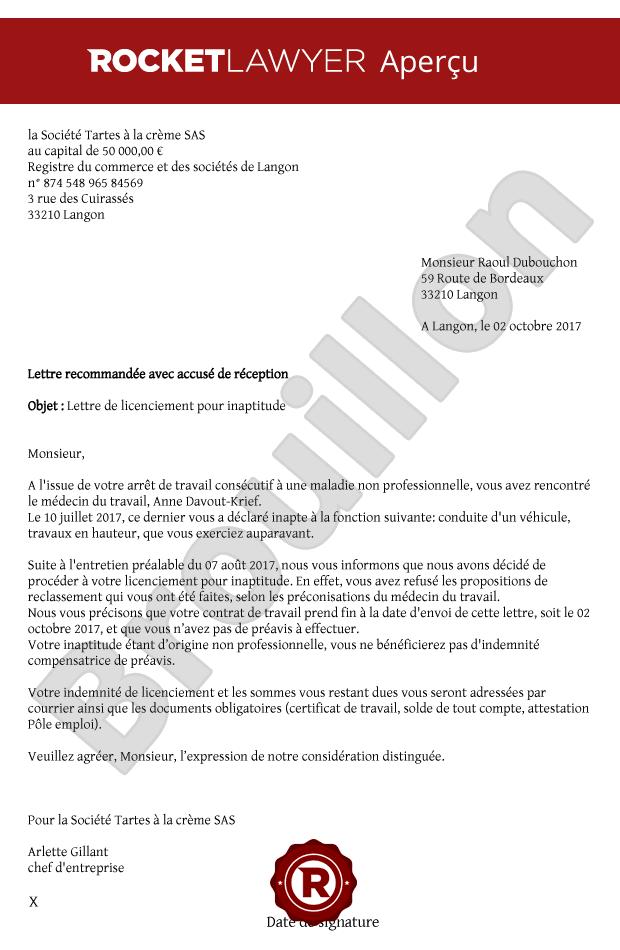 modele de lettre de refus de reclassement pour inaptitude gratuit Rédiger une lettre de licenciement pour inaptitude modele de lettre de refus de reclassement pour inaptitude gratuit