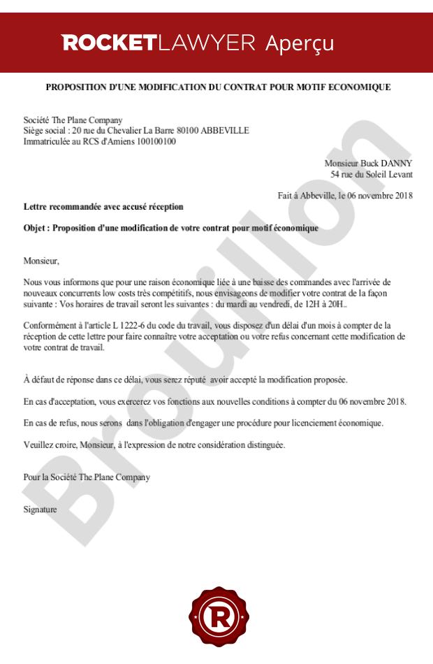 Proposition D Une Modification Du Contrat De Travail Pour Motif