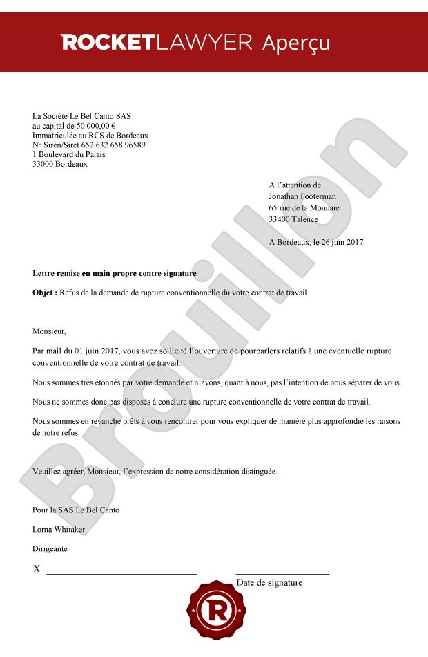 lettre type demande rupture conventionnelle
