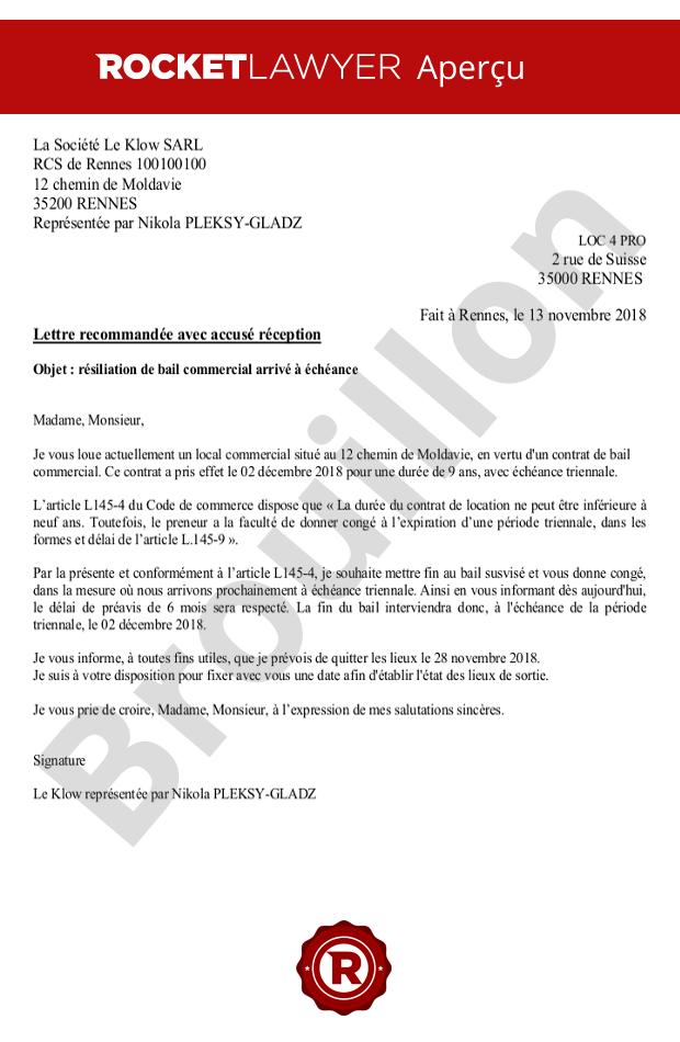 Resiliation D Un Bail Commercial A Echeance Par Le Locataire