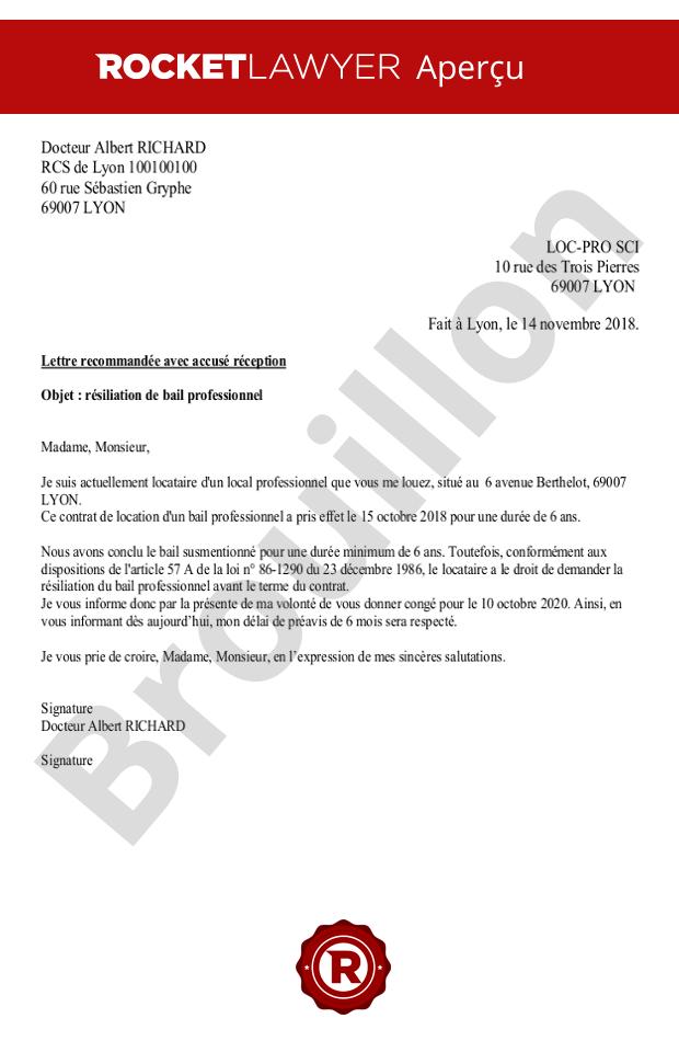 Résiliation Du Bail Professionnel Par Le Locataire