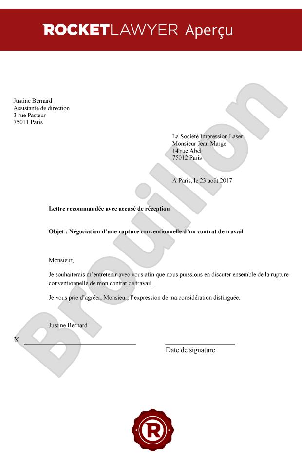 demande de rupture conventionnelle lettre