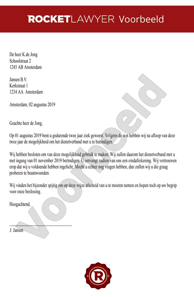 wat moet er in een ontslagbrief staan werknemer Brief Ontslag Na Twee Jaar Ziekte Opstellen | Gratis