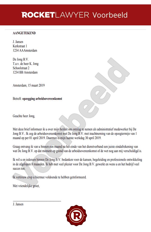 voorbeeld ontslagbrief schrijven Ontslagbrief Opstellen Gratis
